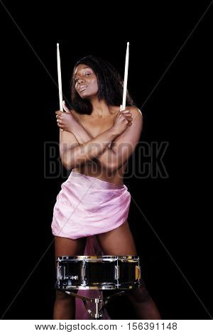 Attractive African American Woman With Snare Drum Standing Pink Cloth Topless