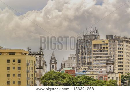 Cityscape view of eclectic style buildings at Recife city Brazil