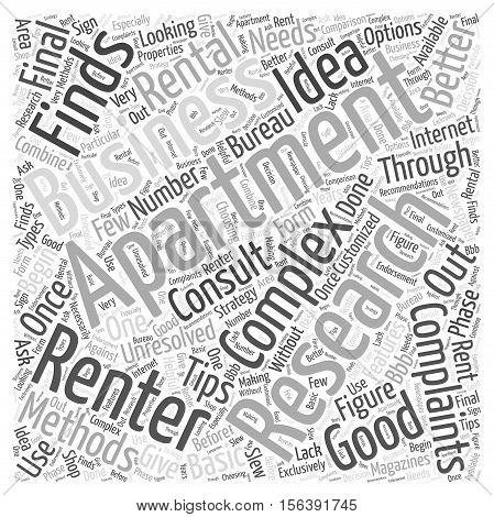 Tips For Finding A Rental Apartment word cloud concept