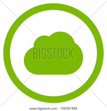 Cloud vector rounded icon. Image style is a flat icon symbol inside a circle, eco green color, white background.