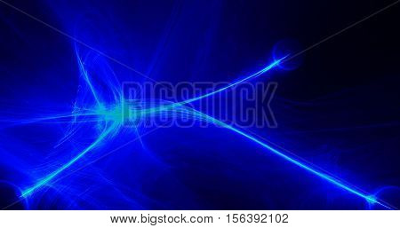 Dark Background Abstract Design In Blue And Green Lines Curves Particles
