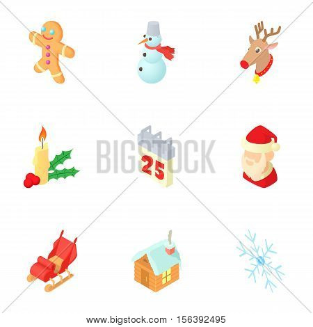 December holiday icons set. Cartoon illustration of 9 december holiday vector icons for web