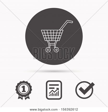 Shopping cart icon. Market buying sign. Report document, winner award and tick. Round circle button with icon. Vector