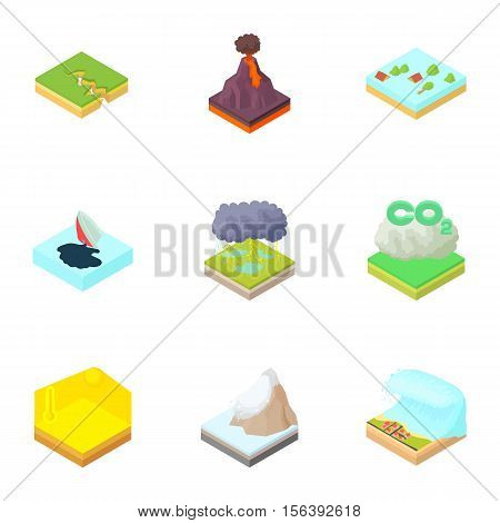 Natural catastrophe icons set. Cartoon illustration of 9 natural catastrophe vector icons for web