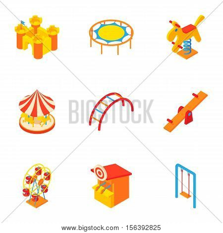 Baby swing icons set. Cartoon illustration of 9 baby swing vector icons for web