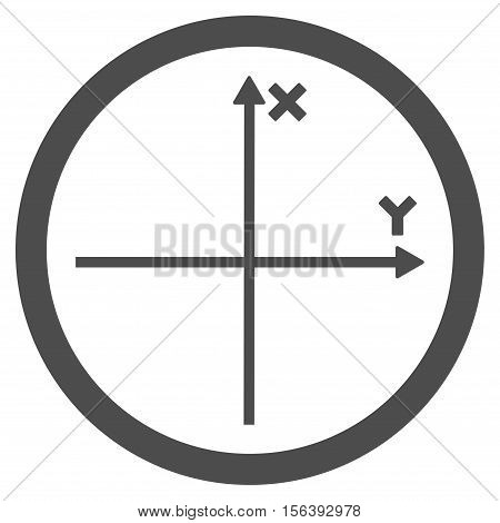 Cartesian Axis vector rounded icon. Image style is a flat icon symbol inside a circle, gray color, white background.