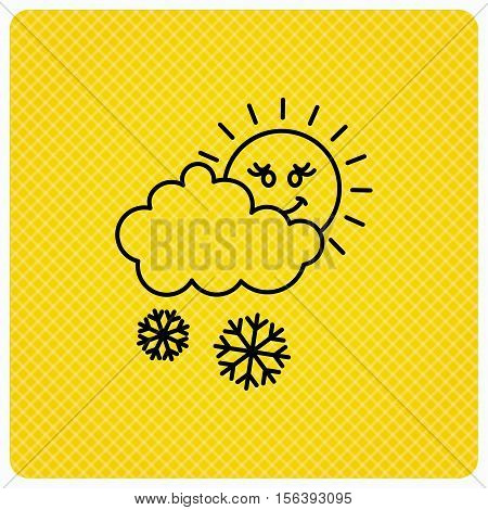Snow with sun icon. Snowflakes with cloud sign. Snowy overcast symbol. Linear icon on orange background. Vector