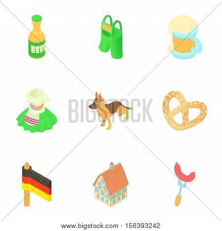 Tourism in Germany icons set. Cartoon illustration of 9 tourism in Germany vector icons for web