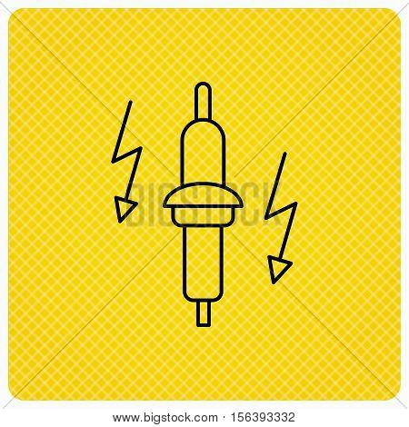 Spark plug icon. Car electric part sign. Linear icon on orange background. Vector