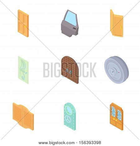 Entrance in house icons set. Cartoon illustration of 9 entrance in house vector icons for web