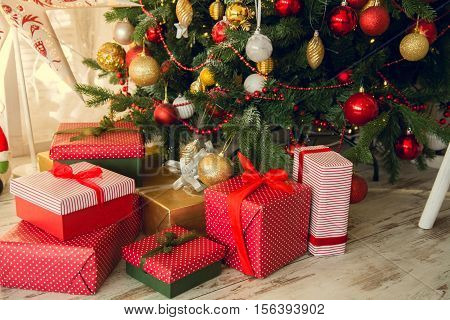 Gifts Under A Christmas Spruce