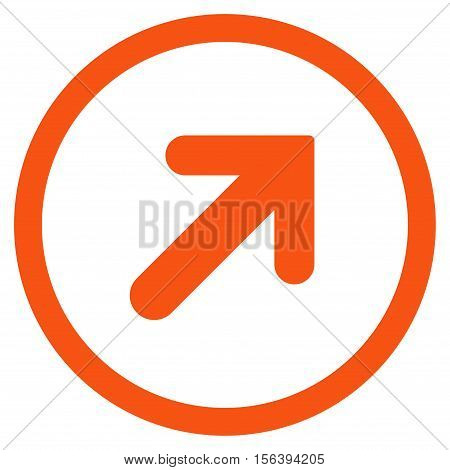 Arrow Right-Up vector rounded icon. Image style is a flat icon symbol inside a circle, orange color, white background.