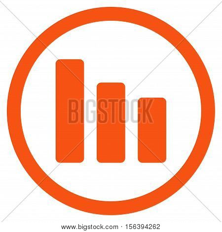 Bar Chart Decrease vector rounded icon. Image style is a flat icon symbol inside a circle, orange color, white background.