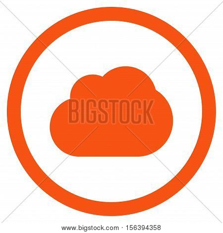 Cloud vector rounded icon. Image style is a flat icon symbol inside a circle, orange color, white background.