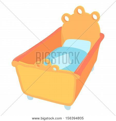 Baby bed icon. Cartoon illustration of baby bed vector icon for web