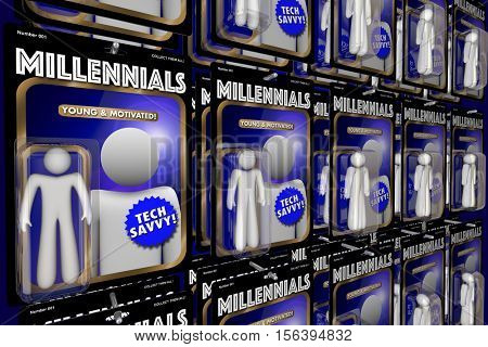 Millennials New Generation Youth Action Figures 3d Illustration