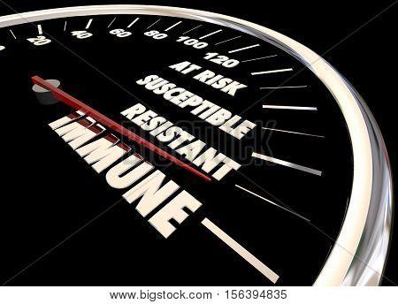 Immune Resistant Immunity Measurement Speedometer 3d Illustration