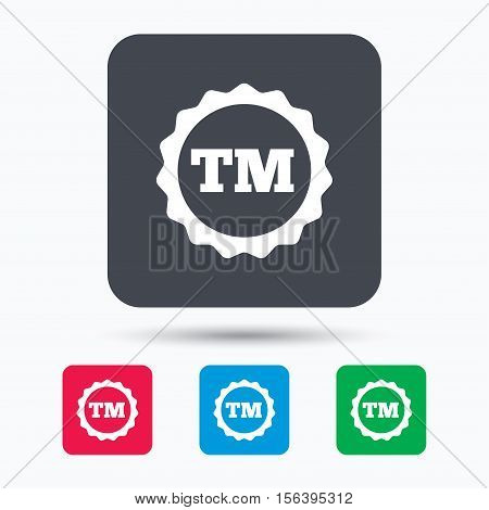 Registered TM trademark icon. Intellectual work protection symbol. Colored square buttons with flat web icon. Vector