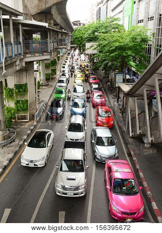 Traffic At Rush Hour In Bangkok, Thailand