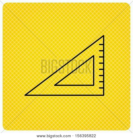 Triangular ruler icon. Straightedge sign. Geometric symbol. Linear icon on orange background. Vector
