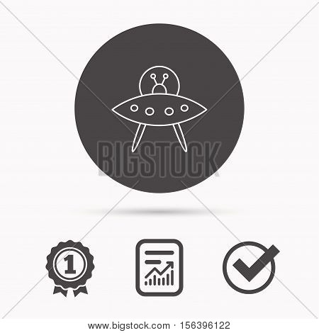 UFO icon. Unknown flying object sign. Martians symbol. Report document, winner award and tick. Round circle button with icon. Vector