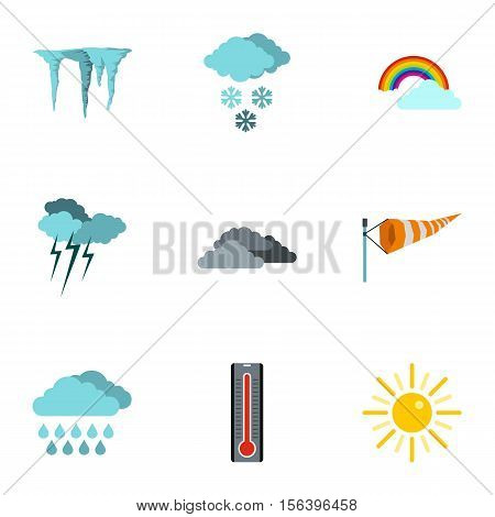 Air temperature icons set. Flat illustration of 9 air temperature vector icons for web