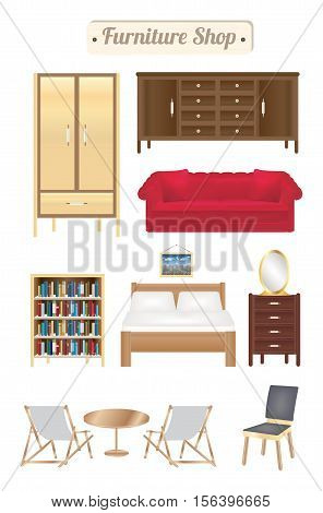 furniture shop wood board with sofa bookcase desk chair wardrobe and bed