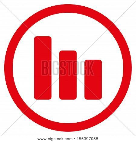 Bar Chart Decrease vector rounded icon. Image style is a flat icon symbol inside a circle, red color, white background.