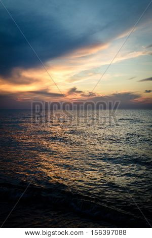 Sunset over the baltic sea in summer