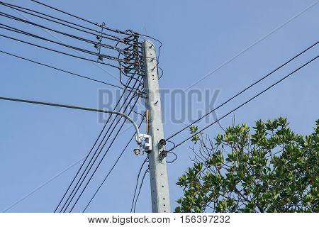 electricity pole with electricity wire in blue sky with tree top