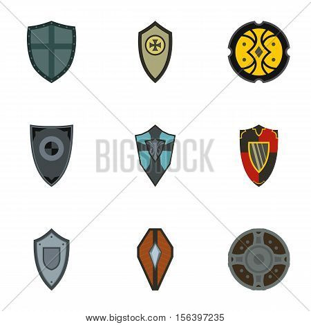Combat shield icons set. Flat illustration of 9 combat shield vector icons for web