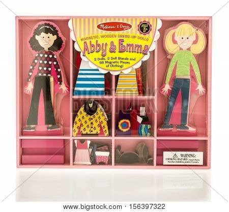Winneconne WI - 13 November 2016: Box of Melissa & Doug Abby & Emma magnetic wooden dress-up dolls on an isolated background.