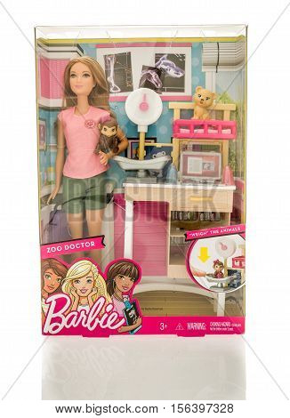 Winneconne WI - 13 November 2016: Package that contains Barbie zoo doctor on an isolated background.