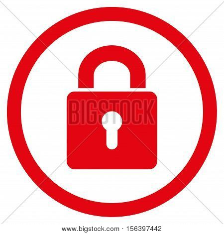 Lock Keyhole vector rounded icon. Image style is a flat icon symbol inside a circle, red color, white background.