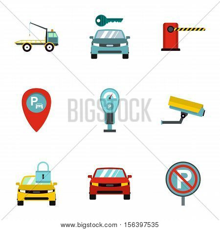 Parking area icons set. Flat illustration of 9 parking area vector icons for web