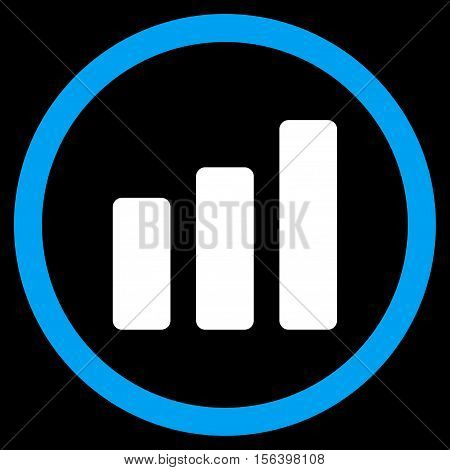 Bar Chart Increase vector bicolor rounded icon. Image style is a flat icon symbol inside a circle, blue and white colors, black background.