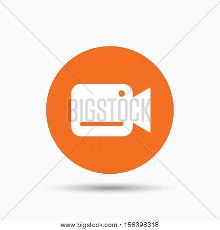 Video camera icon. Film recording cam symbol. Security monitoring. Orange circle button with flat web icon. Vector