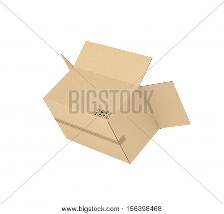 3d rendering of opened light beige cardboard mail box, isolated on the white background, three quarters view. Postal services. Packing and crating. Storage of different products.