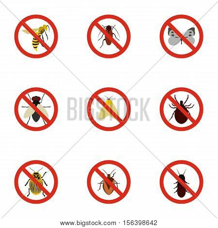 Signs of insects icons set. Flat illustration of 9 signs of insectsn vector icons for web