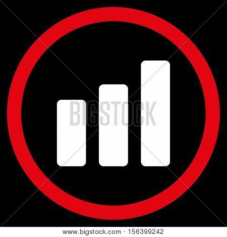 Bar Chart Increase vector bicolor rounded icon. Image style is a flat icon symbol inside a circle, red and white colors, black background.