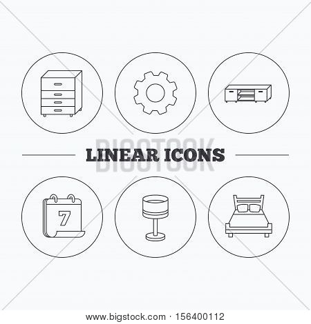 Double bed, table lamp and TV table icons. Chest of drawers linear sign. Flat cogwheel and calendar symbols. Linear icons in circle buttons. Vector