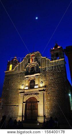 Night view of the Church of Sangre de Cristo(Templo de Sangre de Cristo) in Oaxaca Mexico.