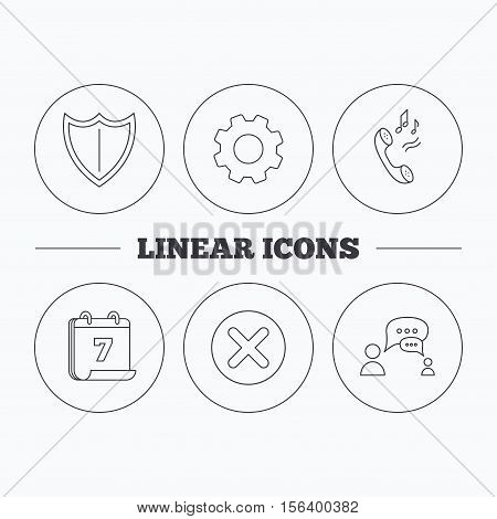 Phone ringtone, delete and chat speech bubble icons. Shield linear sign. Flat cogwheel and calendar symbols. Linear icons in circle buttons. Vector