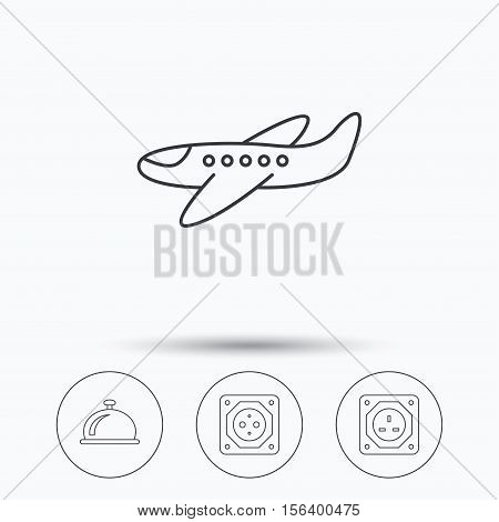 Air-plane, european socket and reception bell icons. UK socket linear sign. Linear icons in circle buttons. Flat web symbols. Vector