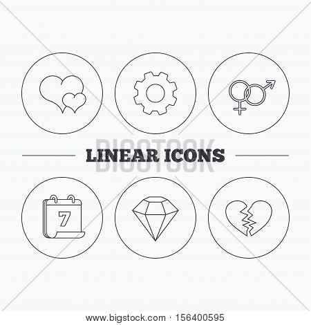 Love heart, brilliant diamond and male, female icons. Broken heart or divorce linear sign. Flat cogwheel and calendar symbols. Linear icons in circle buttons. Vector
