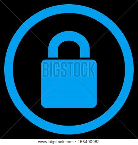 Lock vector rounded icon. Image style is a flat icon symbol inside a circle, blue color, black background.