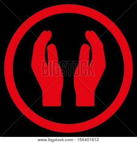 Applause Hands vector rounded icon. Image style is a flat icon symbol inside a circle, red color, black background.