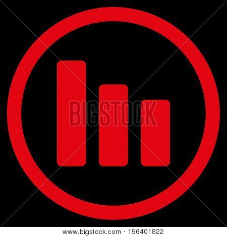 Bar Chart Decrease vector rounded icon. Image style is a flat icon symbol inside a circle, red color, black background.