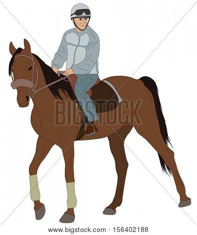 man riding a horse - vector illustration