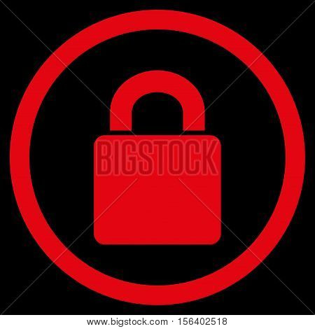 Lock vector rounded icon. Image style is a flat icon symbol inside a circle, red color, black background.